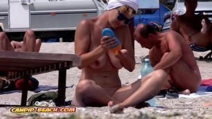 Amazing Hot Tits and Pussy, Nudist MILF Spied on at the Beach