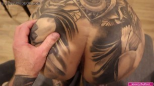 BIG TIT Big Thick ASS Tattooed Milf Gets Fucked Hard While Trying To Film Herself with Her Legs Spread On Two Chairs POV - Melod