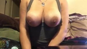 Naughty Stoner Milf smokes a bowl and plays with big natural tits!!